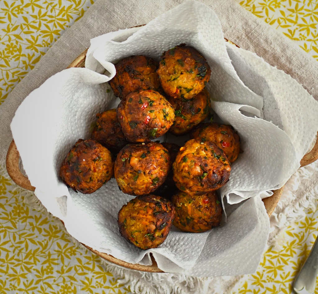 Carrot and apricot falafel