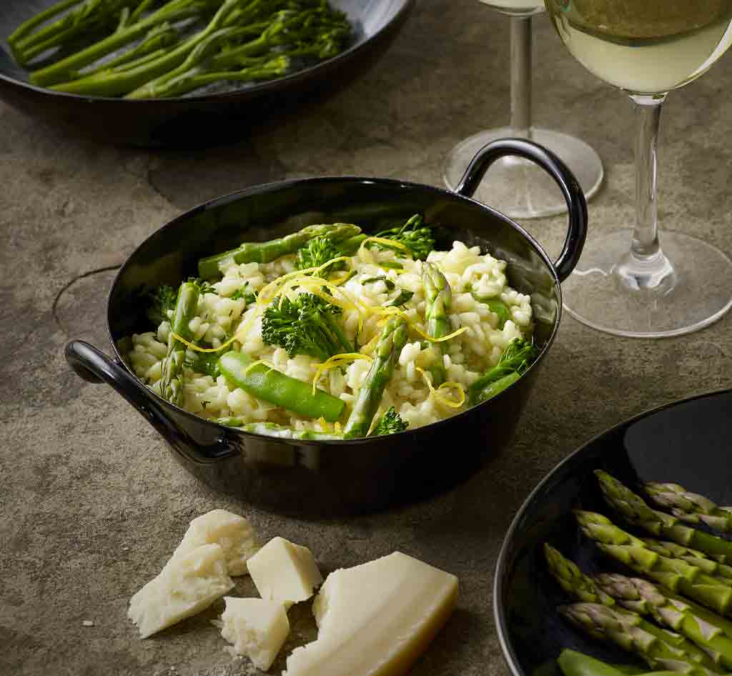 Green & good for you Risotto with parmesan style cheese