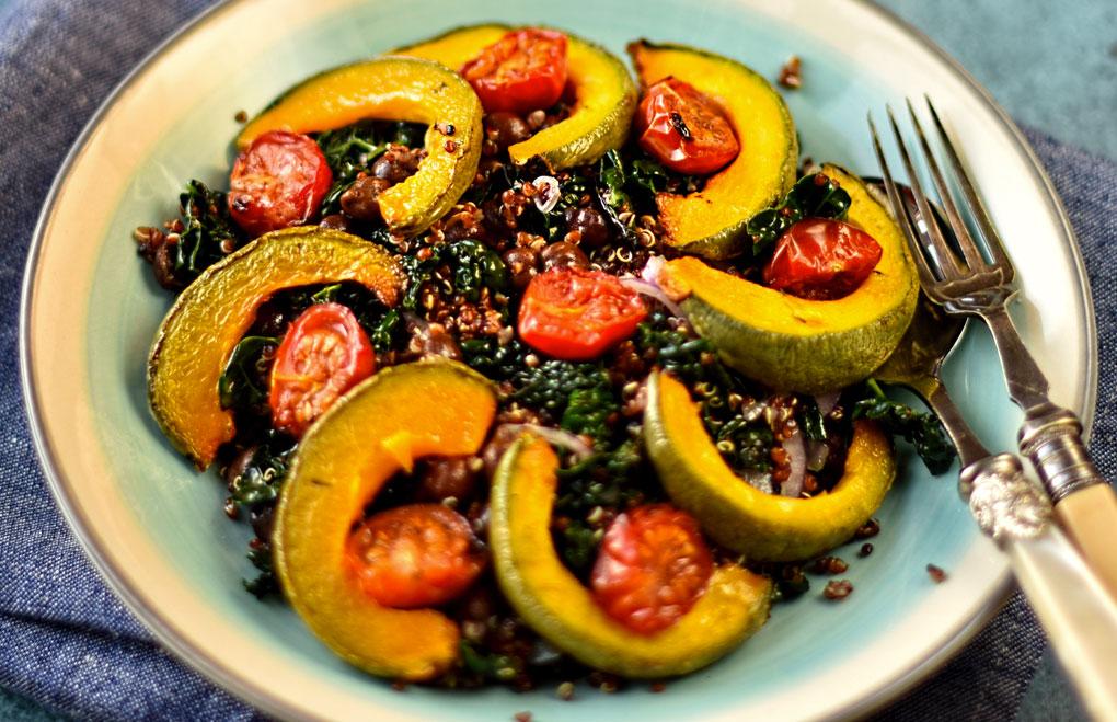 Roast Squash Quinoa & Black Chickpea Salad