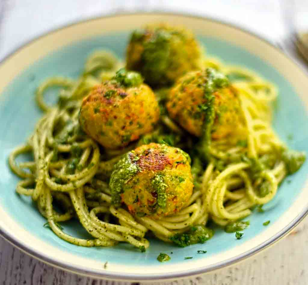 Pea & Ricotta Polpette with Mint & Pistachio Pesto