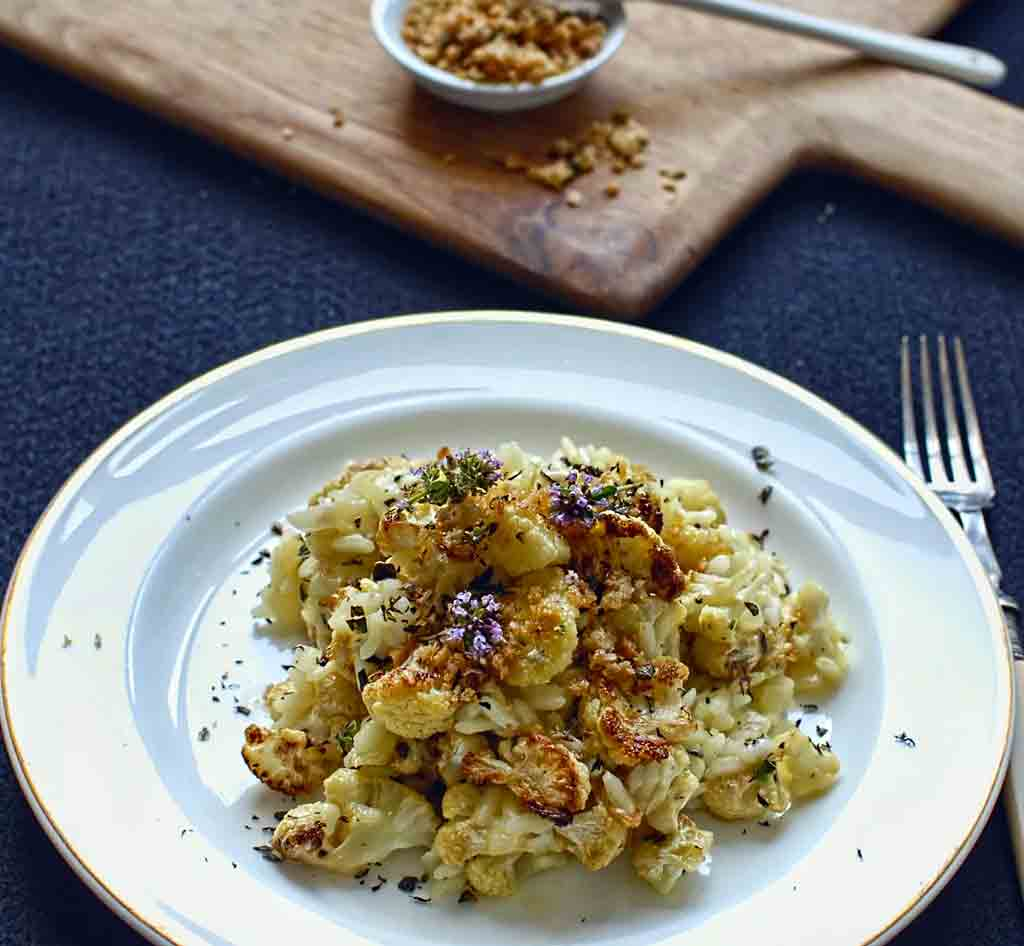 Roasted Cauliflower & Thyme Risotto with Lemon Pangritata
