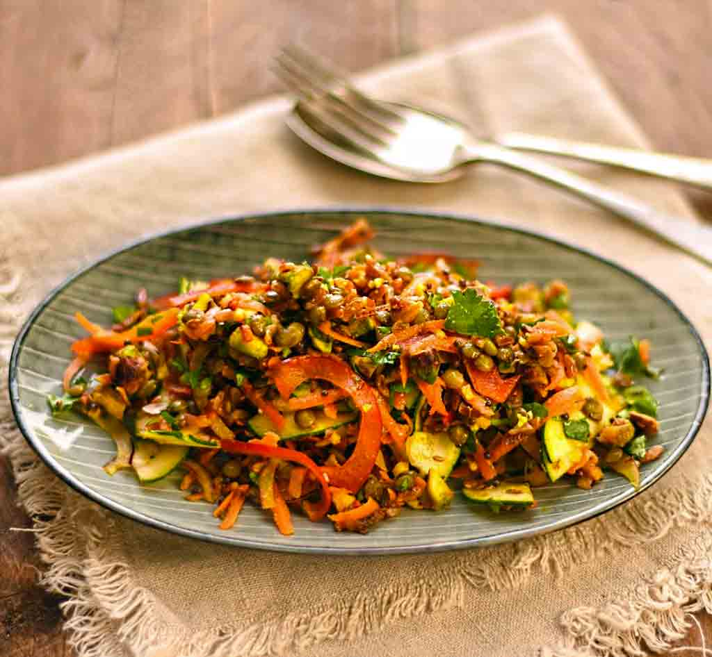 Spiced Red Rice & Lentil Salad