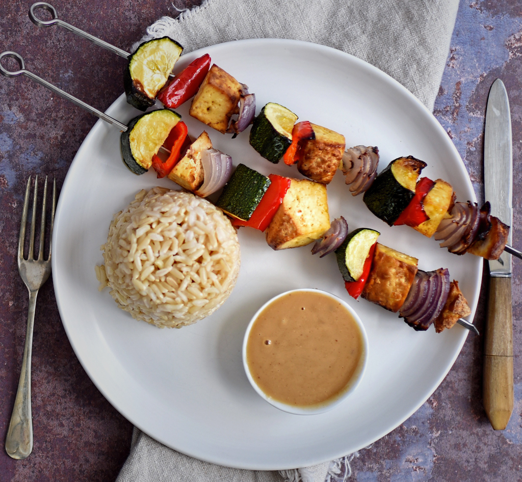 vegan smoked tofu kebabs with satay sauce