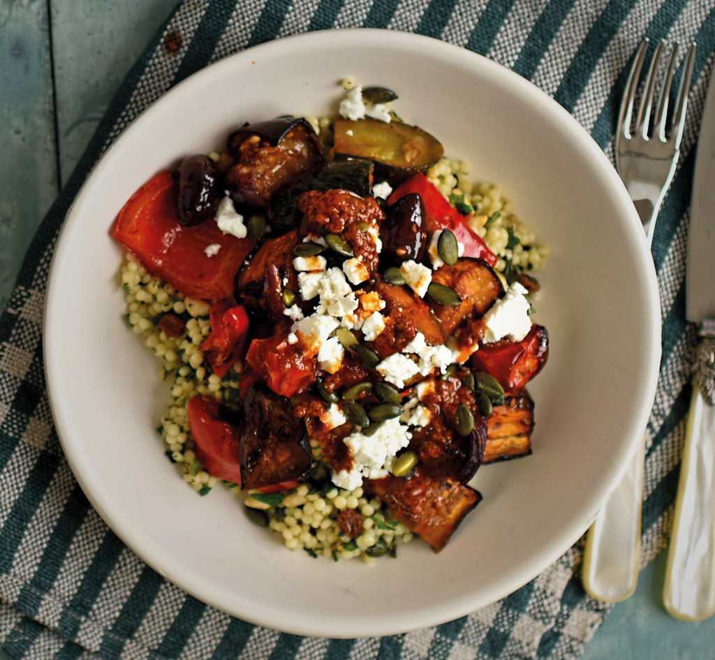 Harissa Roasted Vegetables with Pearl Couscous, Feta & Pumpkin Seeds
