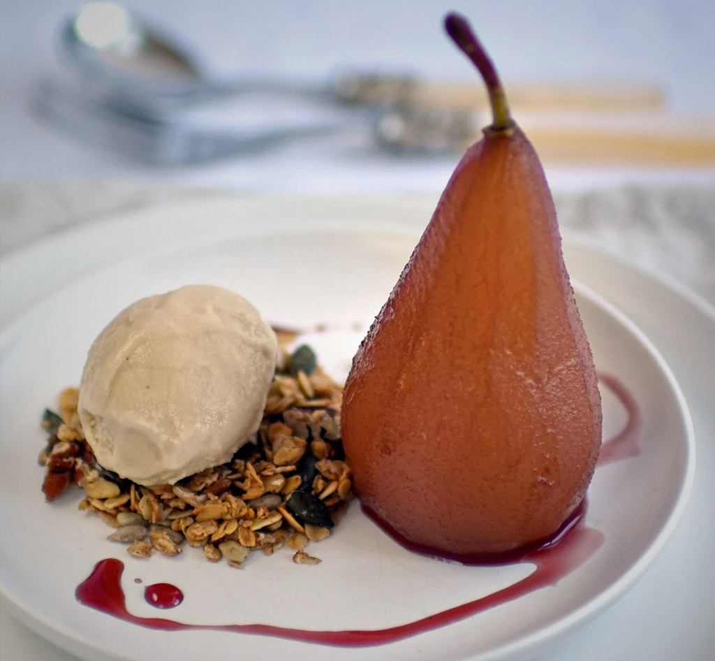 Poached Pears, Pecan Granola & Miso Ice-Cream
