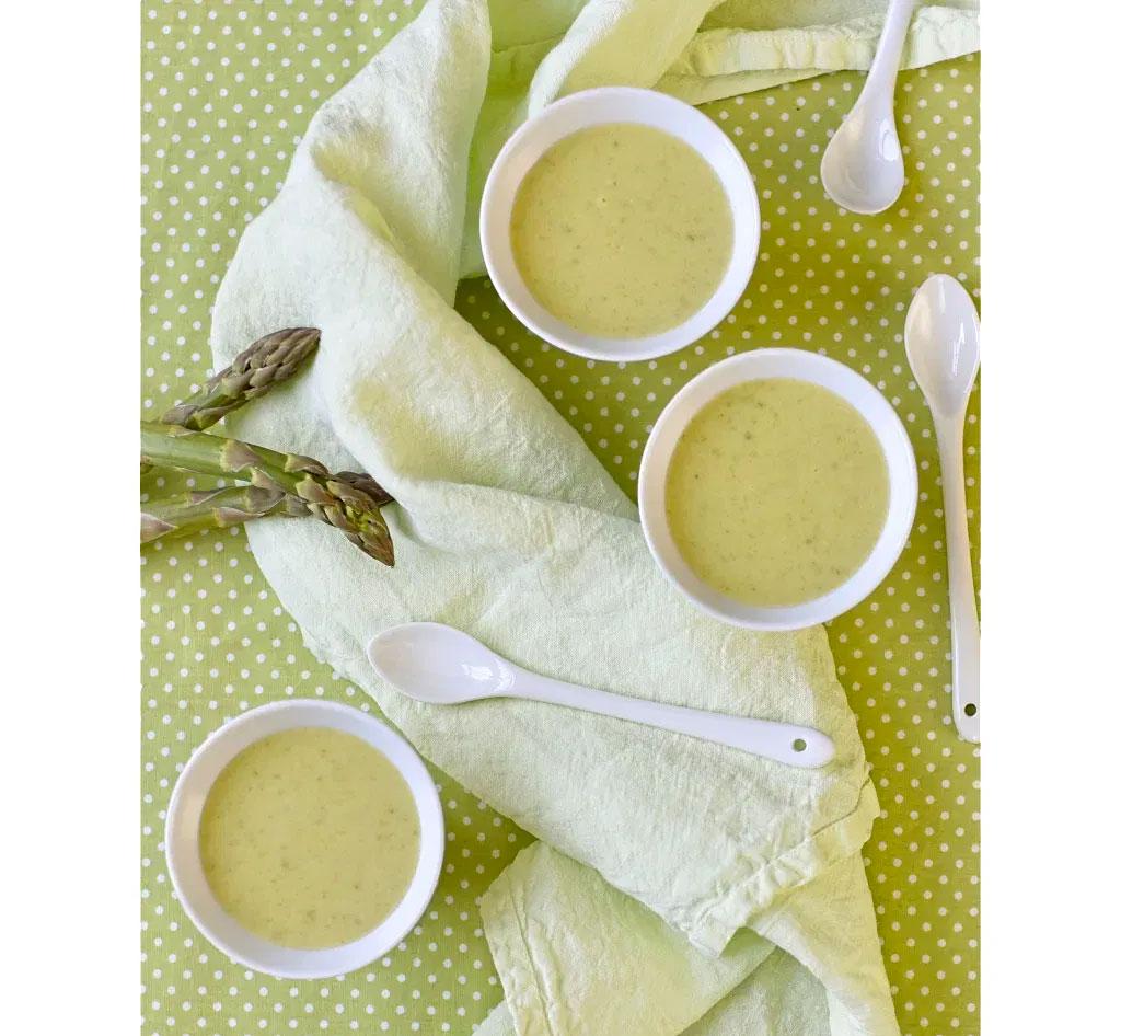 Chilled asparagus, coconut & lemongrass soup