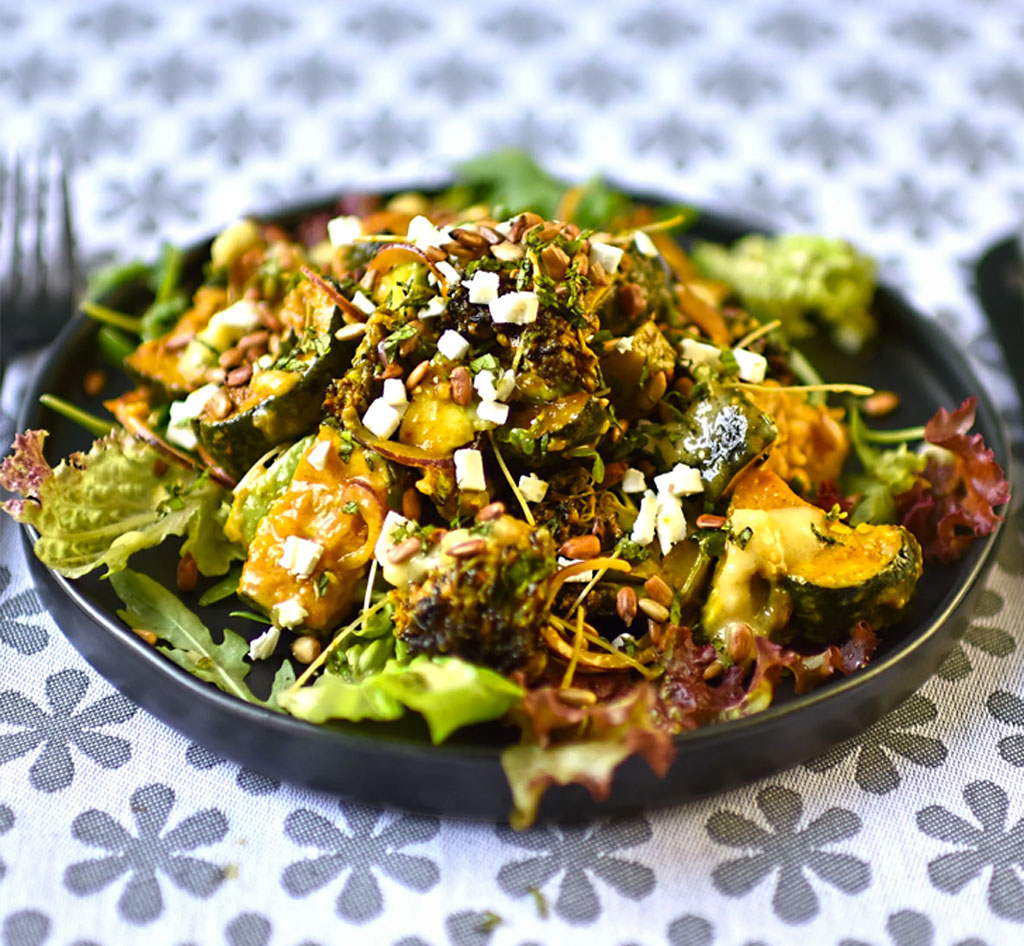 Roasted broccoli and courgette, with feta and preserved lemon